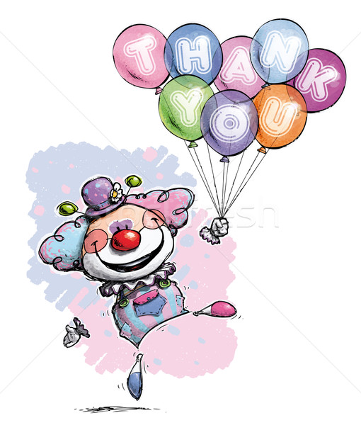 Clown with Balloons Saying Thank You - Baby Colors Stock photo © nazlisart