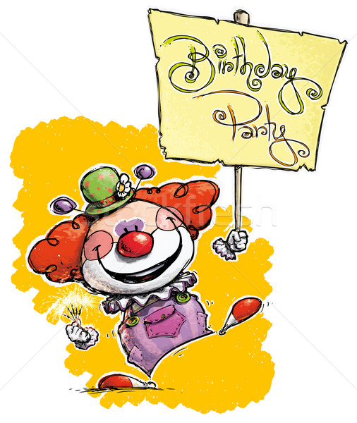 Clown Holding a Birthday Party Placard Stock photo © nazlisart