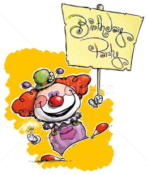 Bohóc tart születésnapi buli plakát illusztráció eps10 Stock fotó © nazlisart