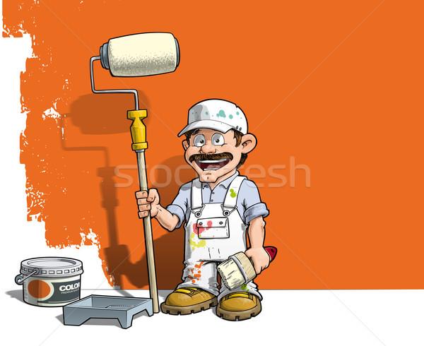 Tuttofare muro pittore bianco uniforme cartoon Foto d'archivio © nazlisart