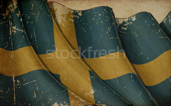 Swedish Flag Old Newspaper Stock photo © nazlisart