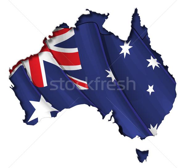Australian Map-Flag Stock photo © nazlisart