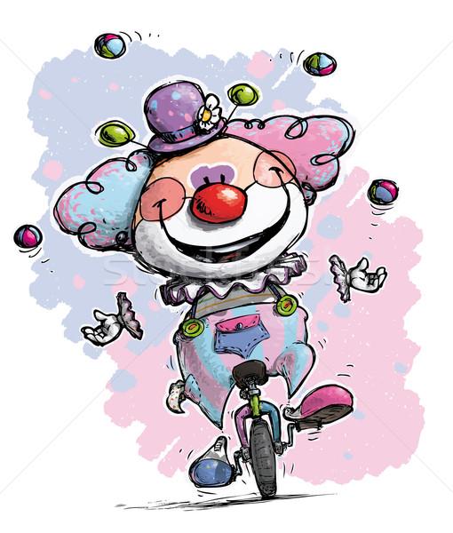 ピエロ 一輪車 ジャグリング 色 実例 赤ちゃん ストックフォト © nazlisart