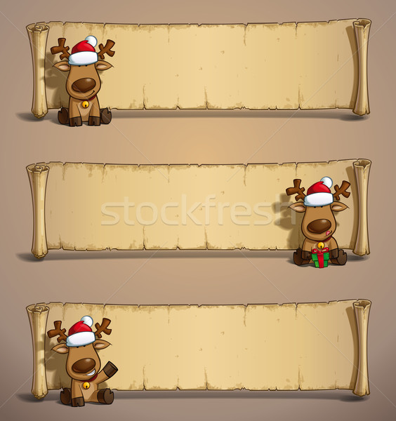 Christmas Elks Papyrus Sitting Stock photo © nazlisart