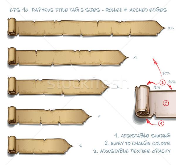 Papirus tag pięć przejdź zestaw Zdjęcia stock © nazlisart