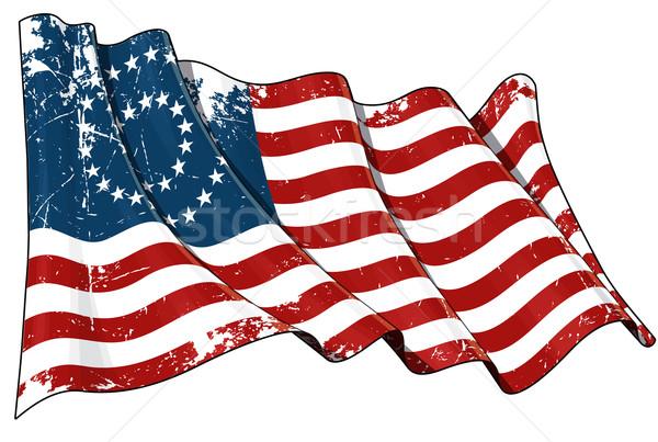 US Civil War Union -37 Star Medallion - Scratched Flag Stock photo © nazlisart