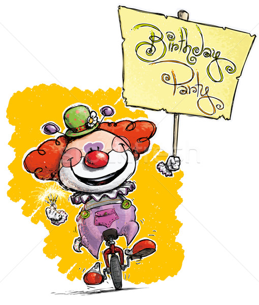 Clown on Unicycle Holding a Birthday Party Placard Stock photo © nazlisart