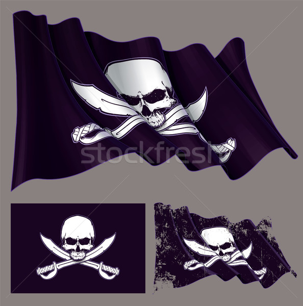 Waving Pirate Flag Jawless Skull and Swords Stock photo © nazlisart