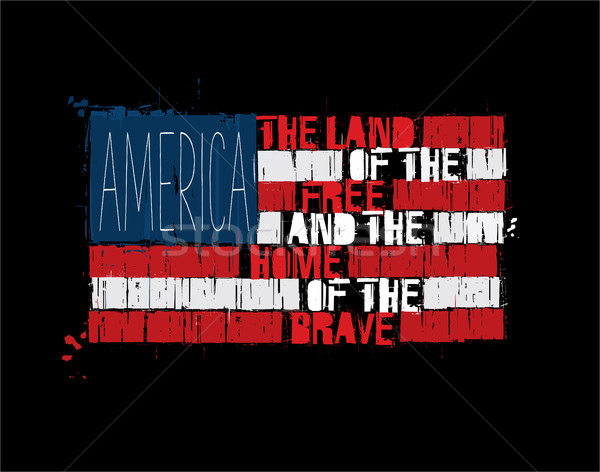 American Text Flag - America Land of the Free Home of the Brave Stock photo © nazlisart