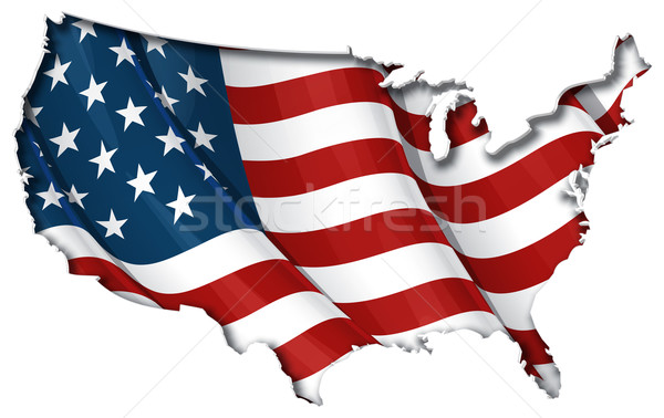 US Flag-Map Inner Shadow Stock photo © nazlisart