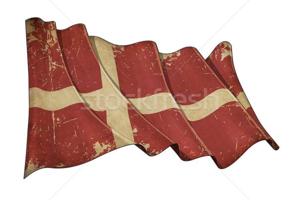 Danish Aged Scratched Flag Stock photo © nazlisart