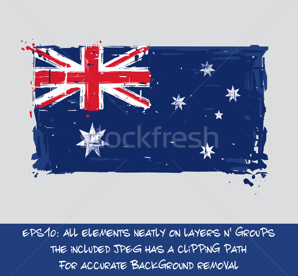 Australian Flag Flat - Artistic Brush Strokes and Splashes Stock photo © nazlisart