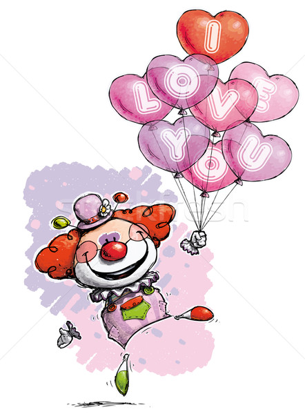 Clown with Heart Balloons Saying I Love You Stock photo © nazlisart
