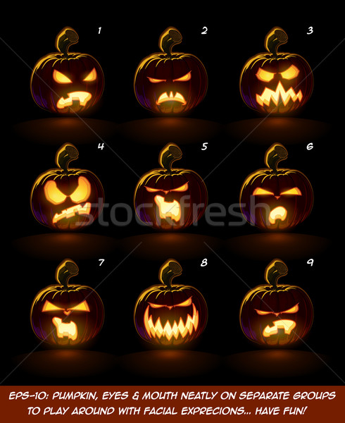 Dark Jack O Lantern Cartoon - 9 Angry Expressions Set Stock photo © nazlisart