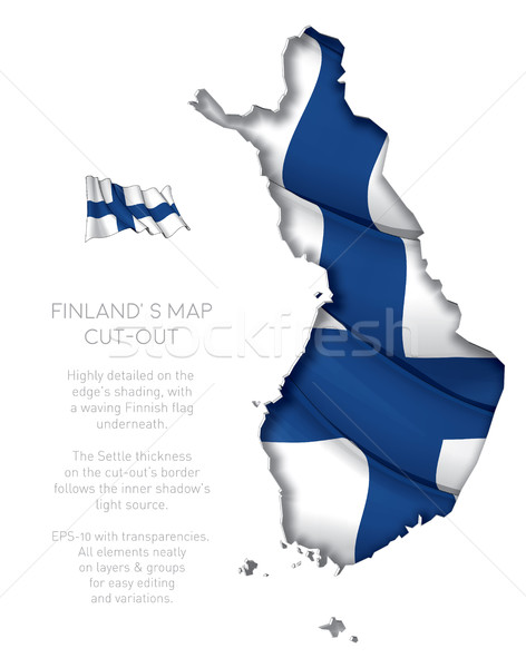 Finland Map Cut-Out with Waving Flag Stock photo © nazlisart