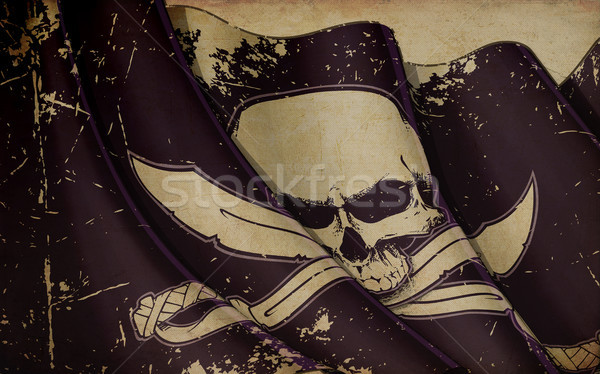 Pirates Jawless Skull and Swords Waving Flag Old Paper