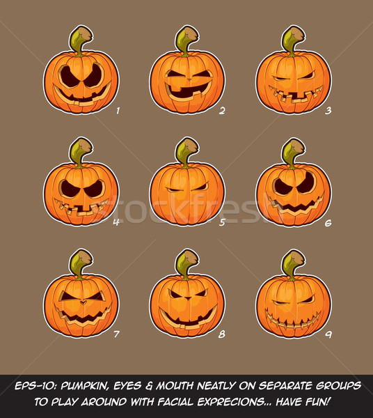 Jack O Lantern Cartoon - 9 Mean n Naughty Expressions Set Stock photo © nazlisart