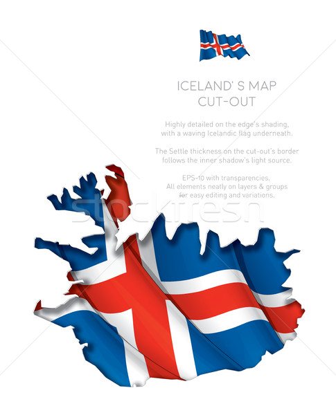 Iceland Map Cut-Out with Waving Flag Stock photo © nazlisart
