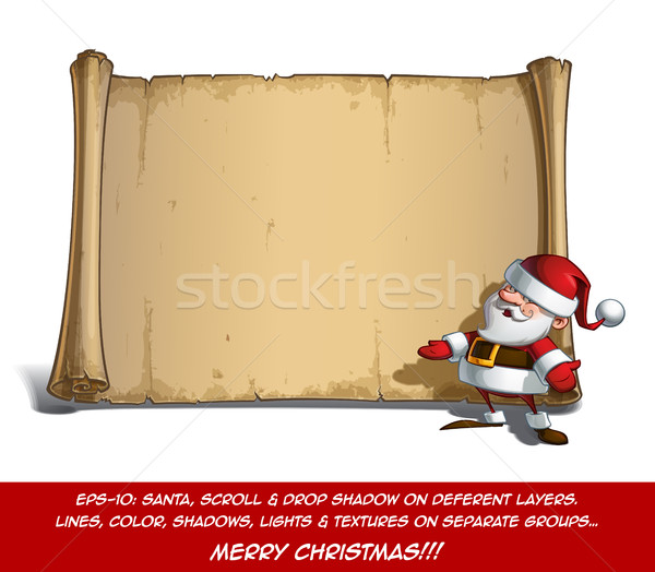 Happy Santa Scroll - Inviting with Open Hands Stock photo © nazlisart