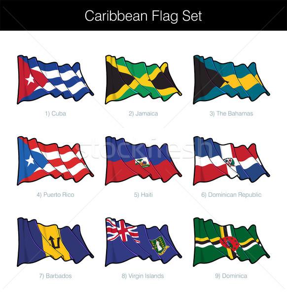 Caribbean vlag ingesteld vlaggen Cuba Stockfoto © nazlisart