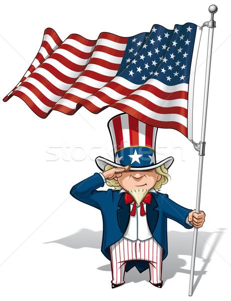 Uncle Sam Saluting the US Flag Stock photo © nazlisart