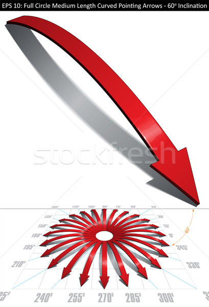 Stock photo: Full Circle Medium Length Curved Pointing Arrows Set - 60 Degree
