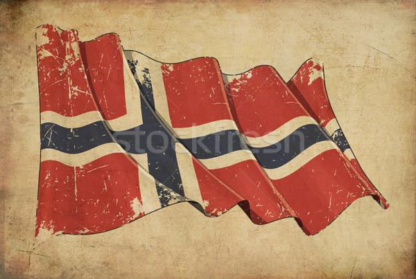 Norvég grunge zászló mintázott tapéta kopott Stock fotó © nazlisart