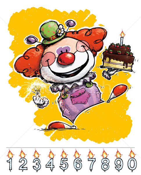 Clown Carrying a Birthday Cake Stock photo © nazlisart