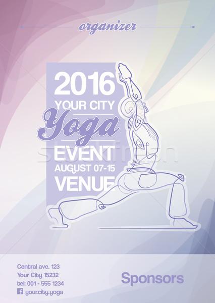 Yoga Event Poster Purple & Blue Stock photo © nazlisart