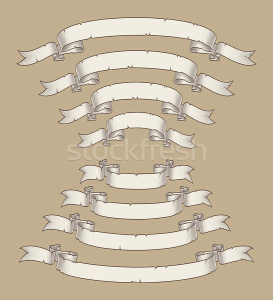 Papyrus Scroll Curved Center Uwards n Downwards Four Sizes 3 Stock photo © nazlisart