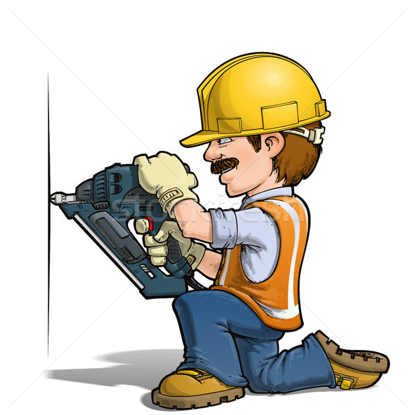 Construction Workers - Nailling Stock photo © nazlisart
