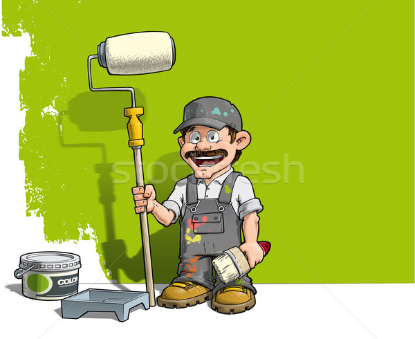 Bricoleur mur peintre gris uniforme cartoon Photo stock © nazlisart