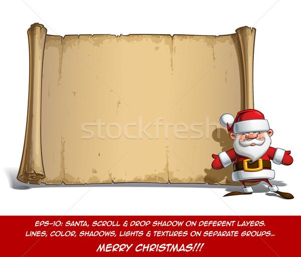 幸せ サンタクロース スクロール オープン 手 ベクトル ストックフォト © nazlisart