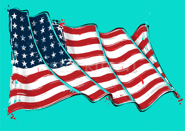 American 48 Star Artistic Brush Stroke Waving Flag Stock photo © nazlisart