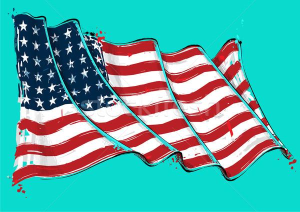 Amerikai csillag művészi ecset integet zászló Stock fotó © nazlisart