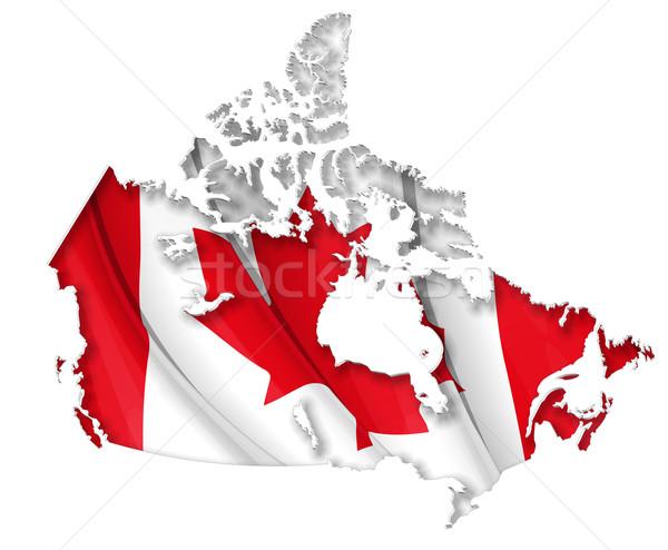 Canadian Map-Flag Stock photo © nazlisart