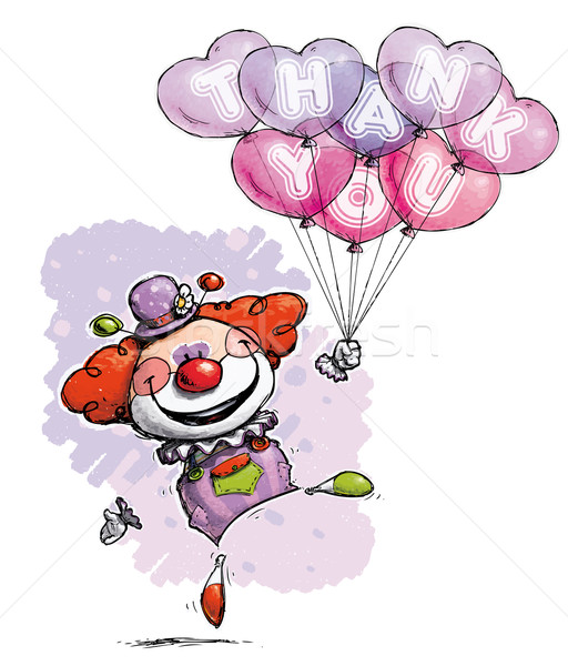 Clown with Heart Balloons Saying Thank You Stock photo © nazlisart