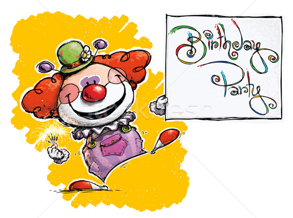 Clown Holding a Birthday Party Card Stock photo © nazlisart