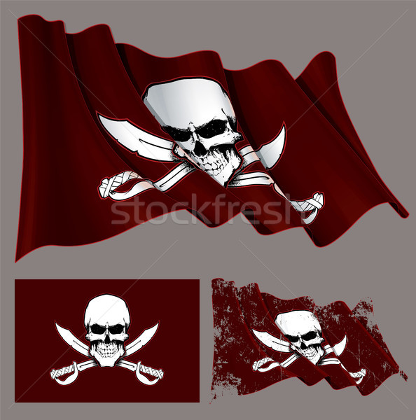 Waving Pirate Flag Skull and Swords Stock photo © nazlisart