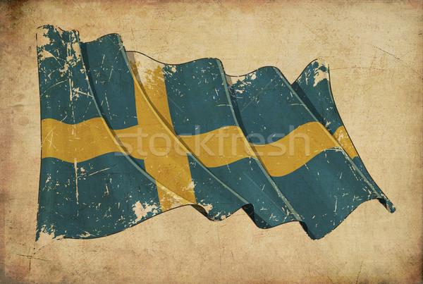 Swedish Grunge Flag Textured Background Stock photo © nazlisart