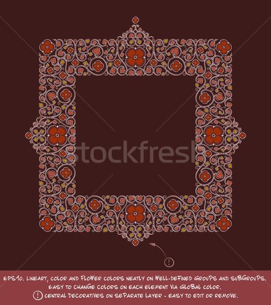 Vierkante bloem decoratief ornamenten rode wijn negatieve Stockfoto © nazlisart