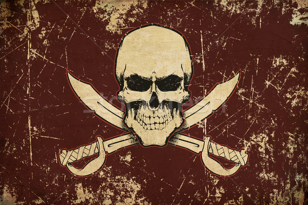 Pirates Skull and Swords Aged Flat Flag Stock photo © nazlisart