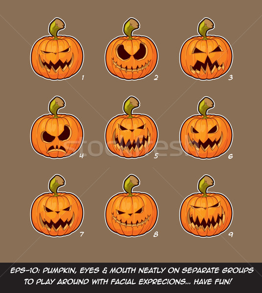 Jack O Lantern Cartoon - 9 Scary Expressions Set Stock photo © nazlisart