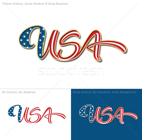 Usa pavillon texte mot trois Photo stock © nazlisart