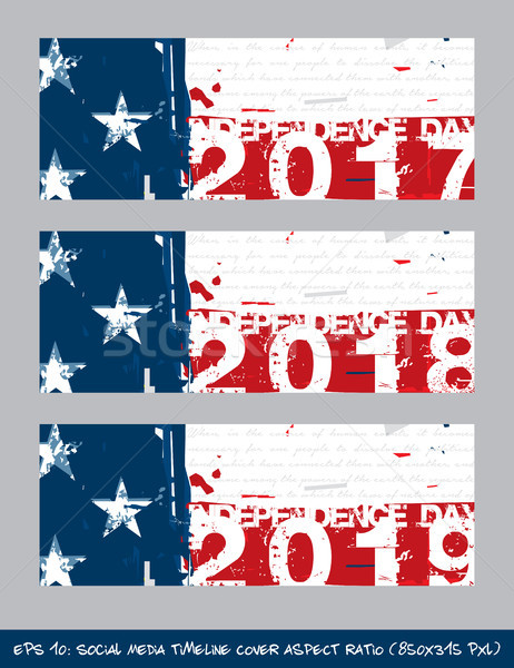American Flag Independence day timeline cover - Artistic Brush S Stock photo © nazlisart