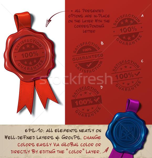 Cire sceau satisfaction garantir timbres Photo stock © nazlisart