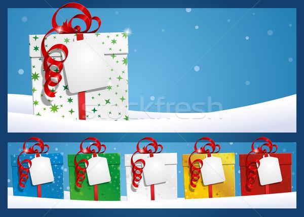 Winter Geschenk Label eps Illustration Verlegung Stock foto © nazlisart