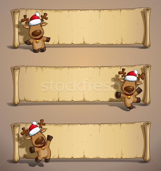 Natale papiro set tre cartoon illustrazioni Foto d'archivio © nazlisart