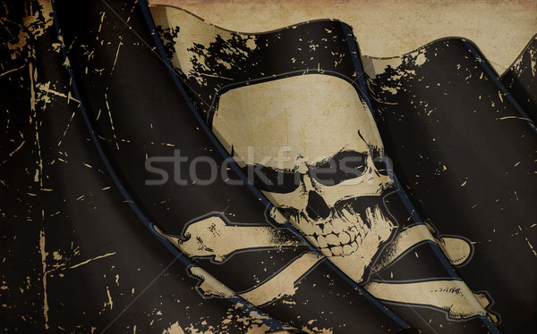 Pirates Skull and Bones Flag Waving Flag Old Paper Stock photo © nazlisart
