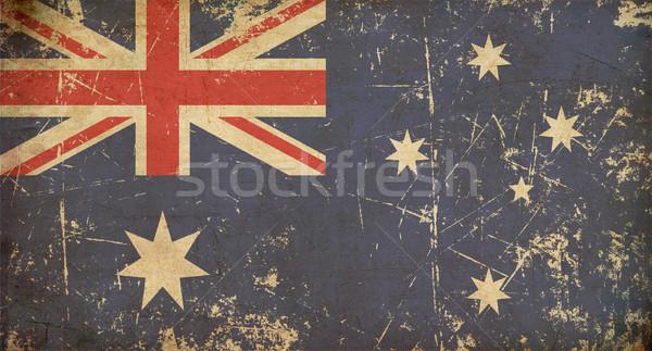 Stok fotoğraf: Avustralya · bayrak · örnek · paslı · grunge